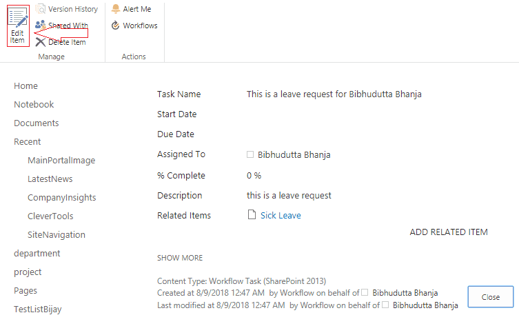 start a task process sharepoint workflow example
