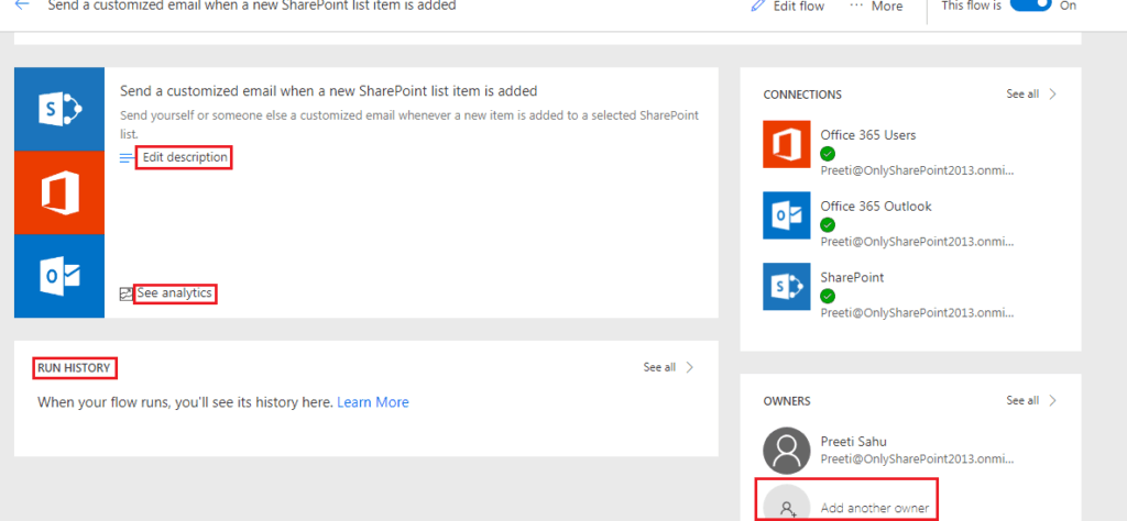 Send a Customized email when a new SharePoint list item is added Microsoft flow templates
