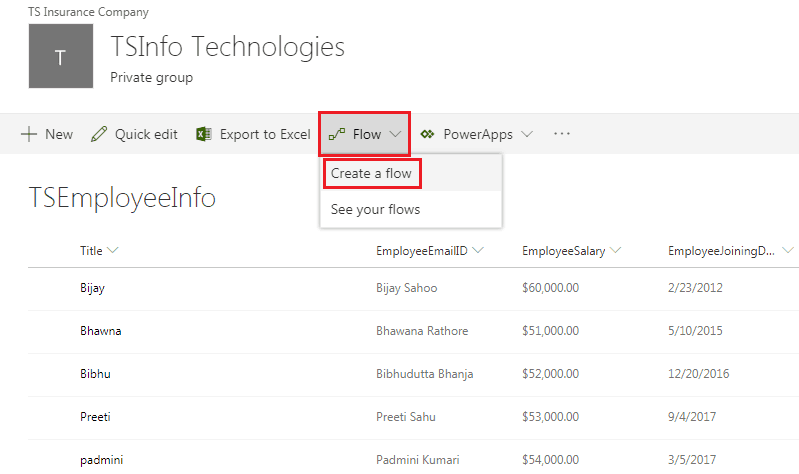 Microsoft Flow example: Send a Customized email when a new SharePoint list item is added