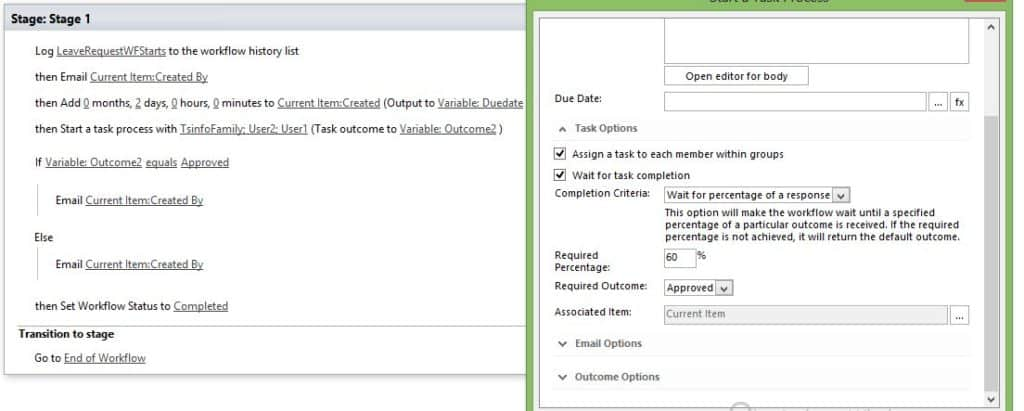 how to use sharepoint designer 2013 Start a task process workflow