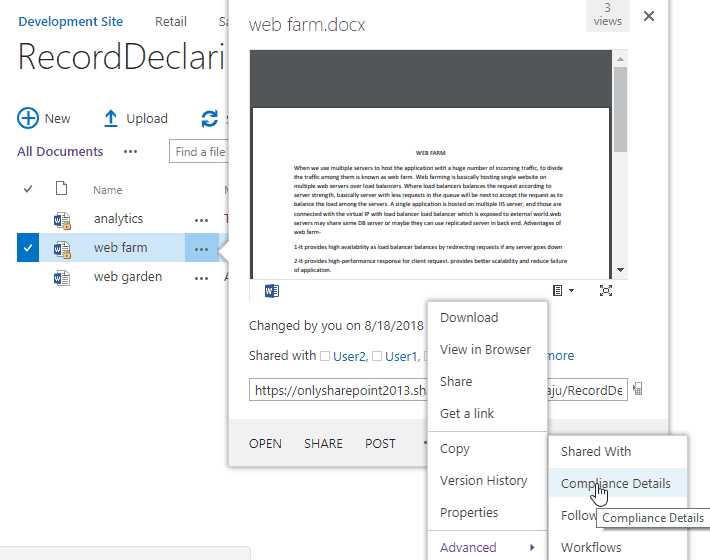 undeclare record SharePoint 2013