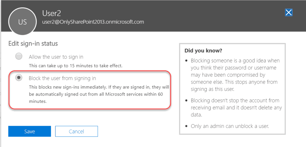 SharePoint Online Office 365 enable or disable user account