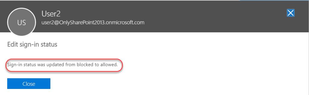 office 365 unblock user account