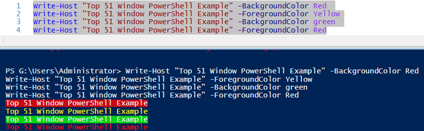 powershell change text color