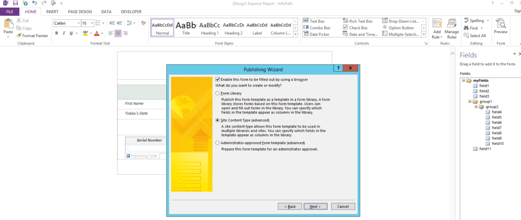 publish infopath form to sharepoint 2013
