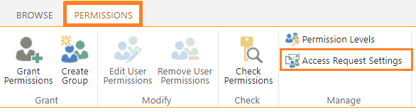 sharepoint online access request settings