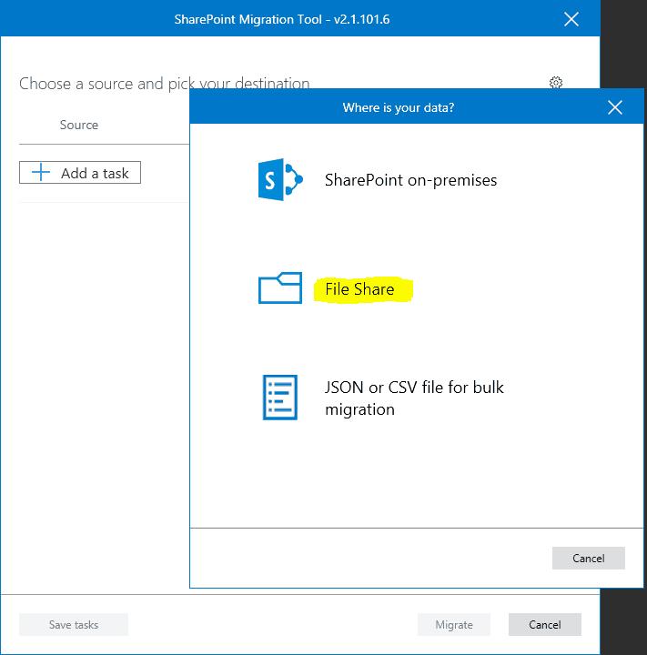 Microsoft SharePoint migration tool