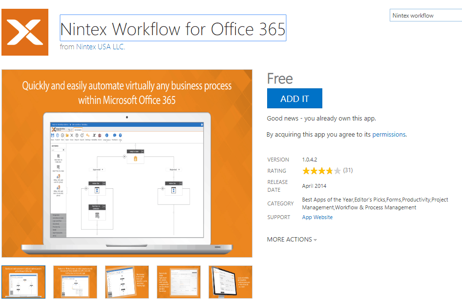 Install nintex workflow for office 365