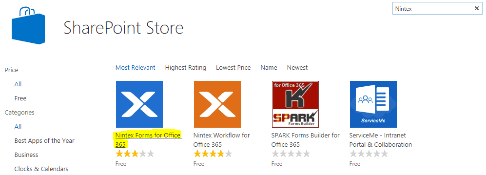 Nintex forms Office 365