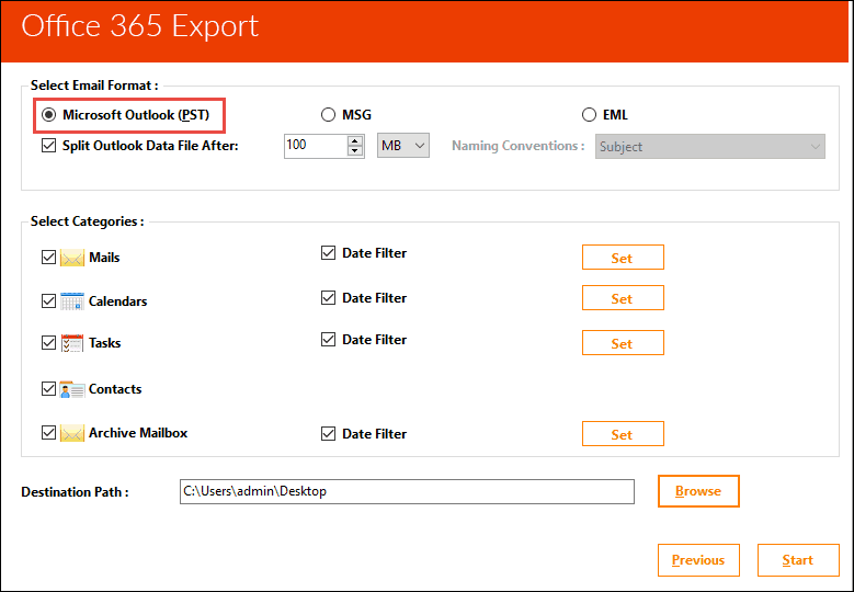 backup Office 365 mailbox into PST file
