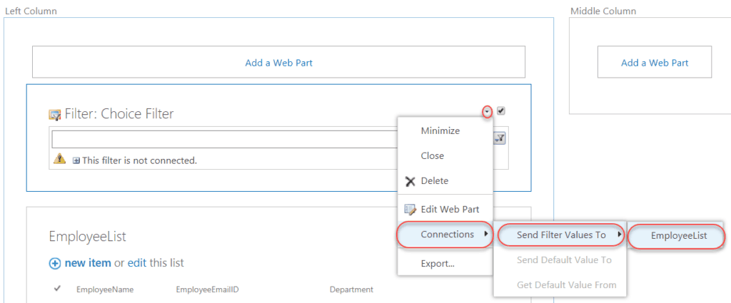 choice filter web part example in sharepoint 2016