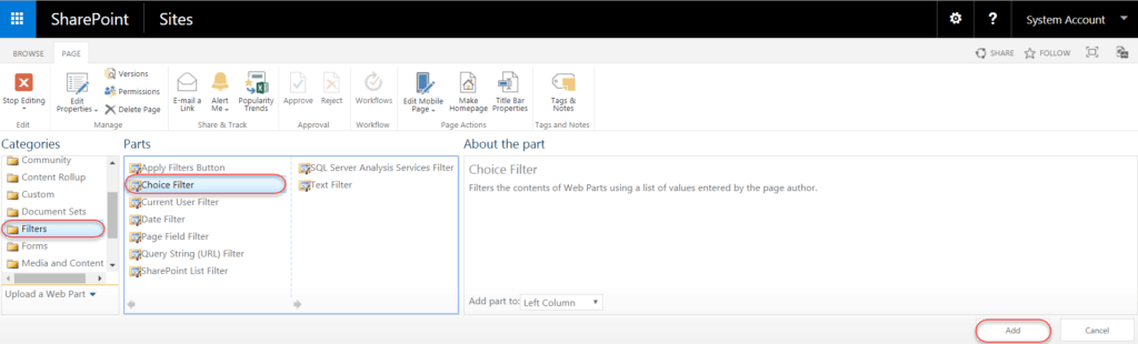 choice filter web part in sharepoint