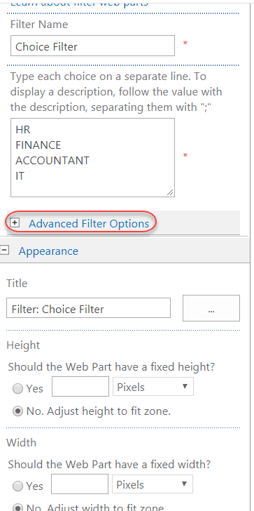 choice filter web parts example sharepoint 2013