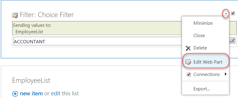 choice filter web parts example sharepoint 2016