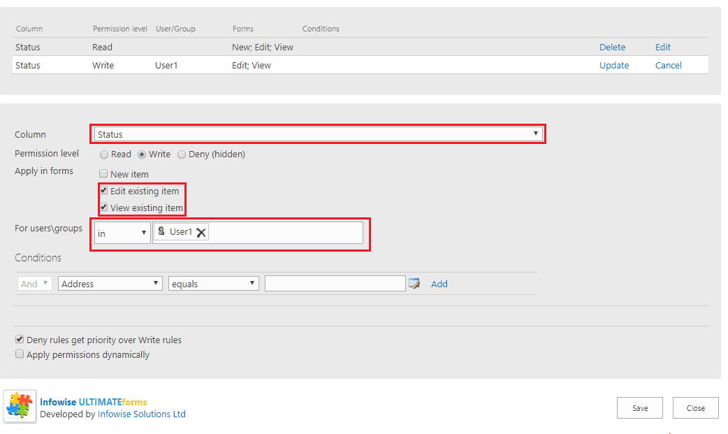 how to create tab permissions in infowise for office 365