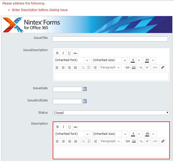 how to make a field required in nintex forms