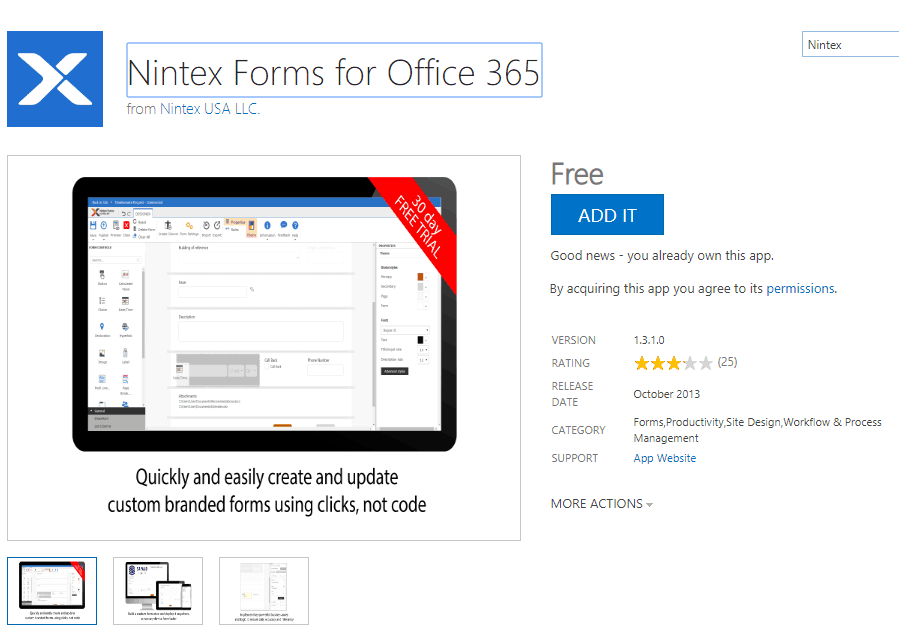 Install Nintex forms in SharePoint Online