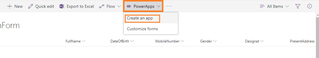 Create your First form using Microsoft PowerApps in SharePoint