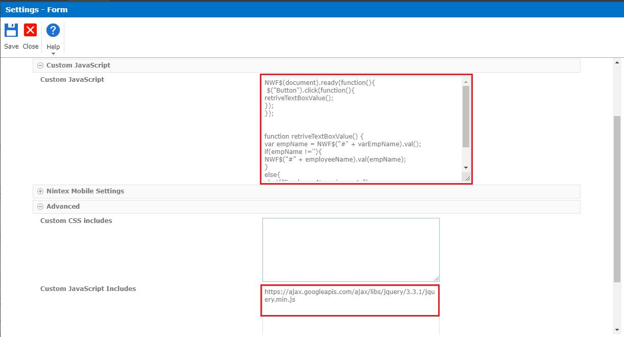 nintex forms javascript custom include