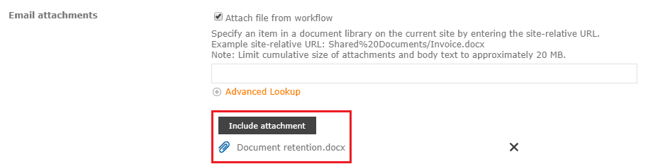 nintex workflow  external email and attachment for office365
