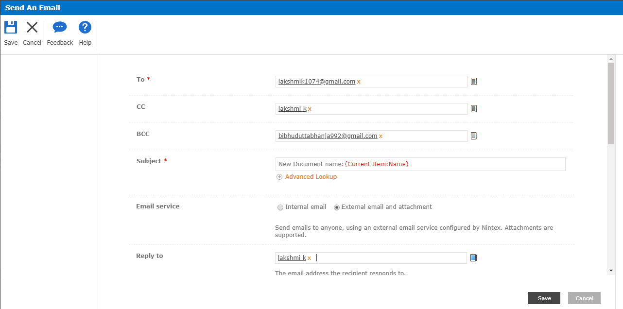 nintex workflow send email to external users