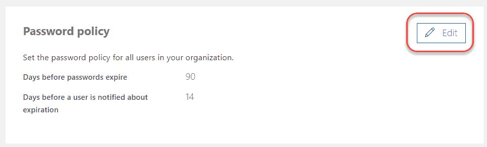 office 365 set user password to never expire