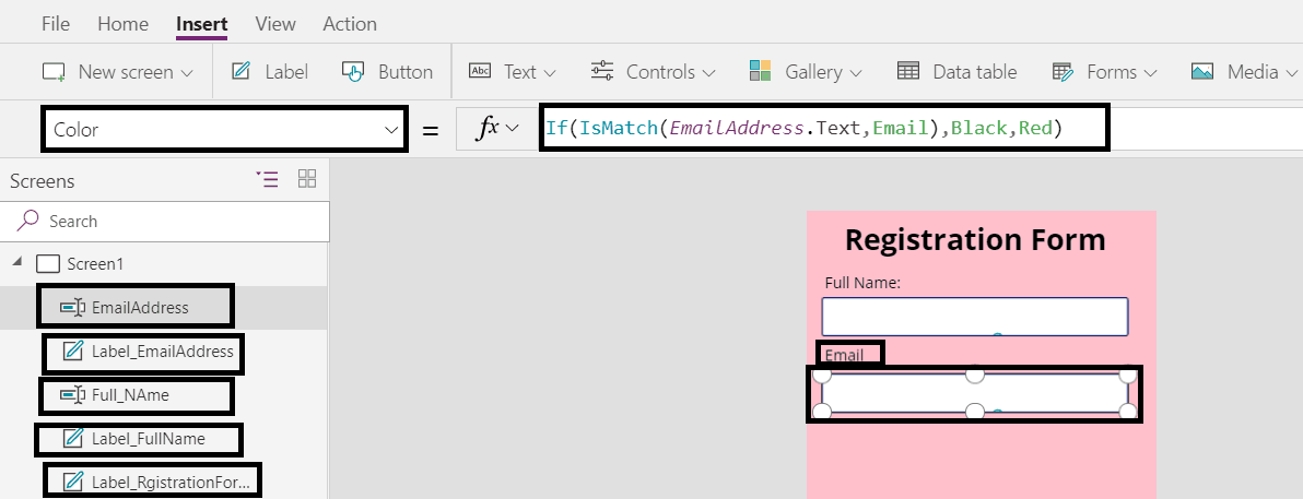Add  PowerApps labels