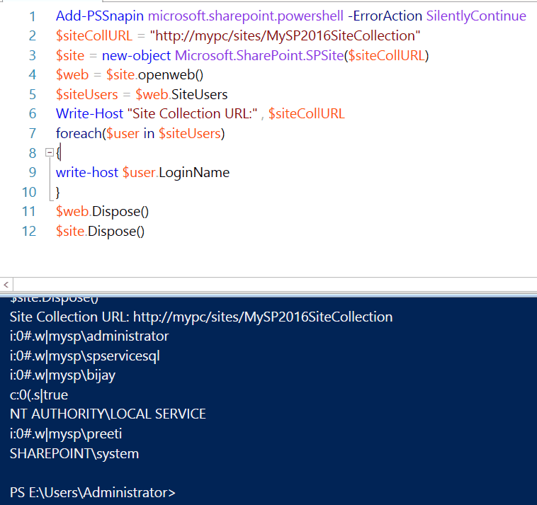 sharepoint 2013 powershell get all users in site collection