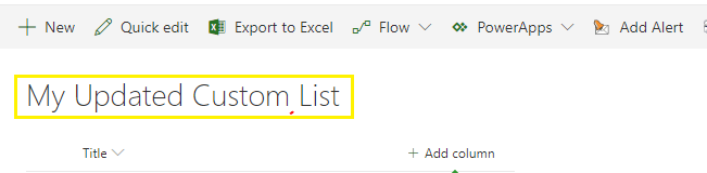 update list title using jsom sharepoint