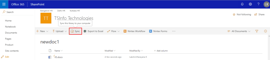 sync sharepoint document library with onedrive