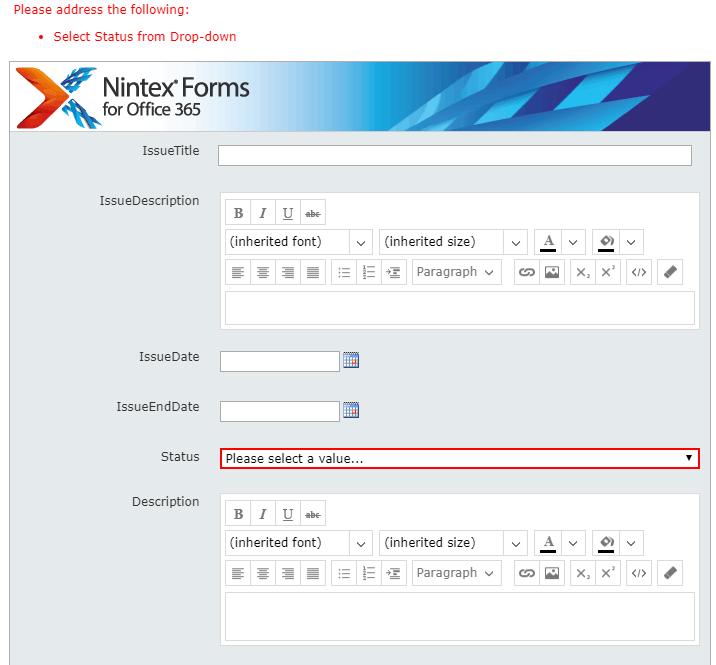 validation is based on choice nintex forms