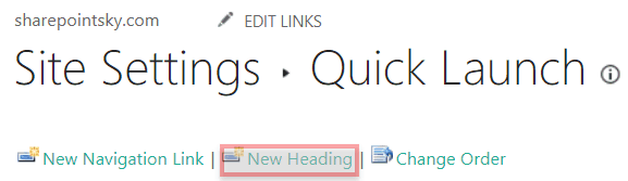 sharepoint 2016 quick launch