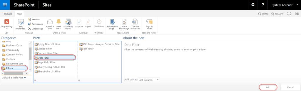 sharepoint date filter web part