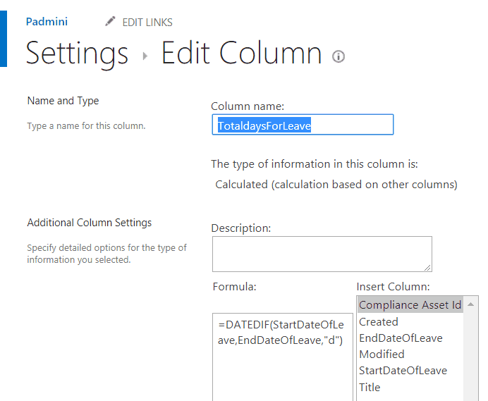 sharepoint calculated column date difference