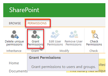 Unique permissions of Document library in SharePoint 2013