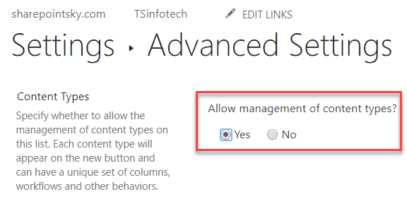 allow management of content types sharepoint online