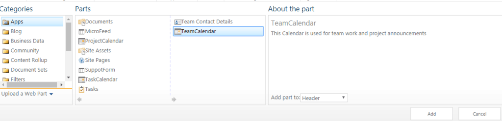 sharepoint online calendar web part
