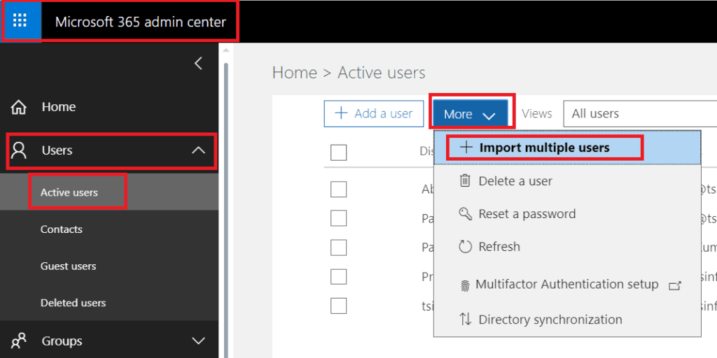 import csv to office 365