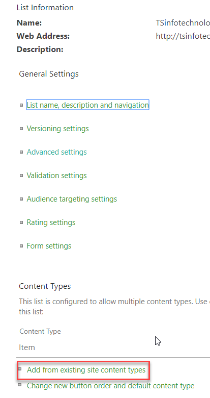 create content type in sharepoint online