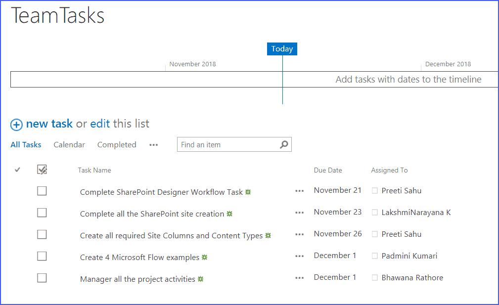 SharePoint Online task list