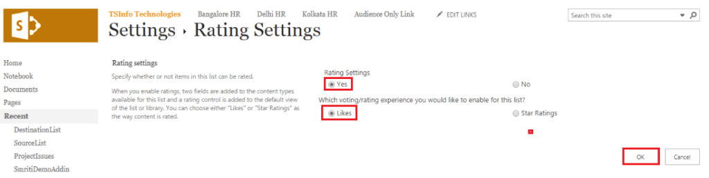 enable ratings in sharepoint 2013
