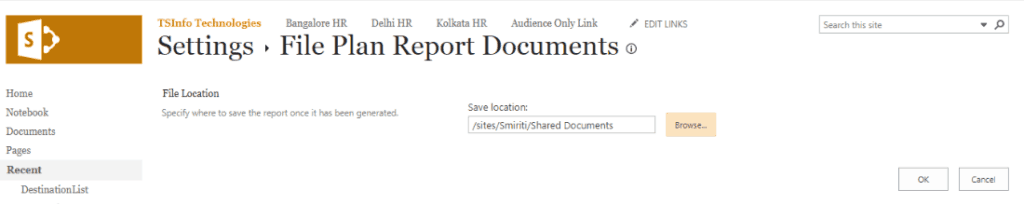 generate file plan report sharepoint 2016
