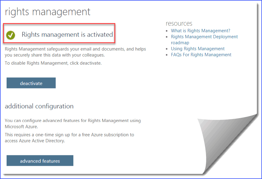 Activate Information right management in office 365