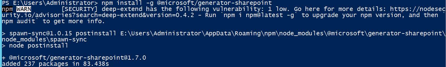 install yeoman sharepoint generator