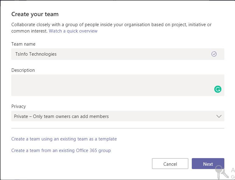 Create a Team in Microsoft Teams
