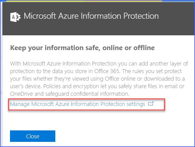 rms online is configured for this tenant but is turned off, please turn on in office 365 to enable.