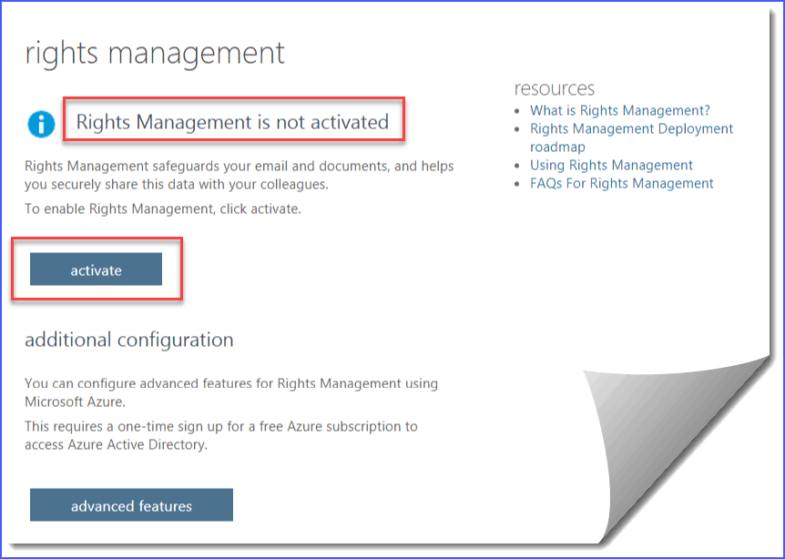 rms online is configured for this tenant but is turned off sharepoint online office 365