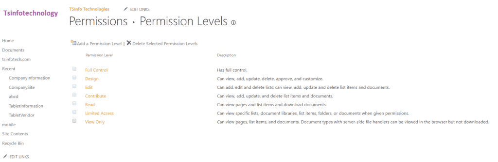 sharepoint online permissions levels