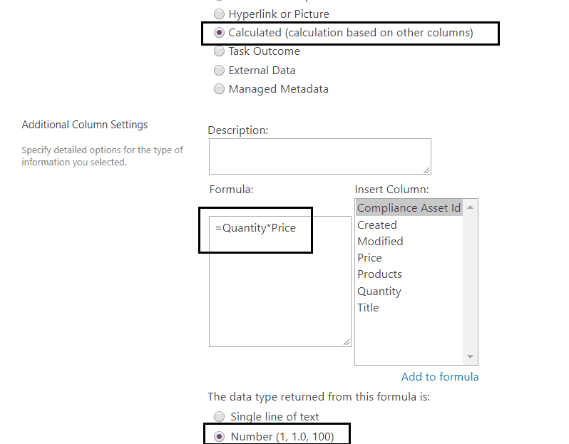 sharepoint calculated column