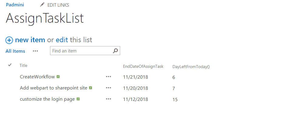 sharepoint calculated column today